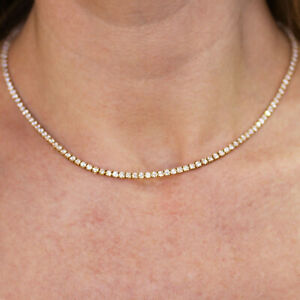 8.5 ctw Natural Diamond (G-H SI) 14k Yellow Gold 4 Prong Tennis Necklace 14-18""