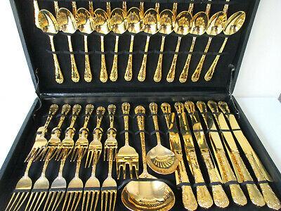 Vintage Gold Plated Silverware Flatware Set Of 51 Ebay