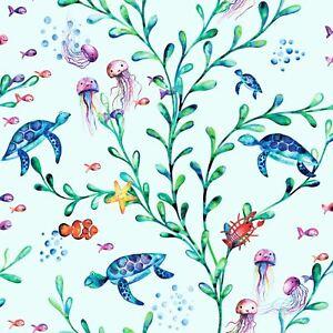 Over-The-Arc-En-Ciel-90941-sous-la-Mer-Papier-Peint-Sarcelle-Enfants-Plantes-Mer