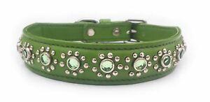 """Petit en cuir vert chiot- chien-chat col + bijoux pour cou 7"""" -8.5""""- A1-Vert-afficher le titre d`origine XRuZ7vqR-07220222-954512836"""