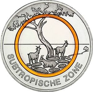 Deutschland 5 Euro Subtropische Zone 2018 Sammlermünze Oranger Polymerring