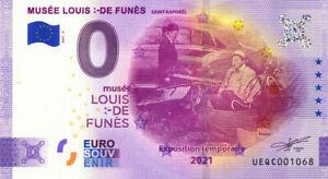 83 SAINT-RAPHAEL Musée Louis de Funès, Le corniaud, 2021, Billet Euro Souvenir