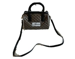 Authentic Bag Top Black Beige Guess New Quilted Satchel Brown Handle nxw7aafqTS