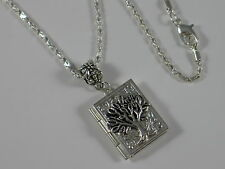 STEAMPUNK Silver TREE OF LIFE BOOK LOCKET Pendant Chain Necklace - Wiccan Pagan