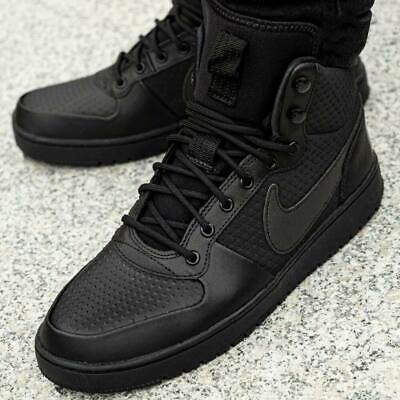 Nike Borough Mid Inverno Court MEN'S Scarpe da ginnastica Triple nero | eBay