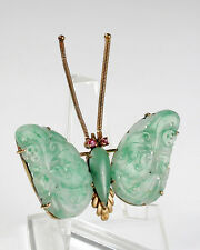 """Antique Chinese 14K Carved Jade Butterfly Brooch Ruby Eyes Yellow Gold Mount 2"""""""