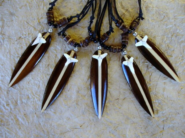 5 BRAND NEW WOODEN SURFBOARD SHARK TOOTH NECKLACES LUCKY TALISMAN / n088setgy