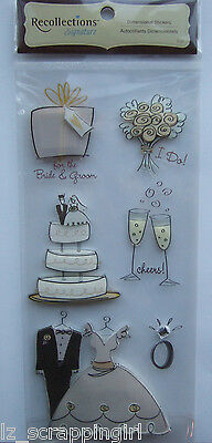Recollections ~SKETCHED WEDDING ICONS~ Dimensional Stickers; BRIDE GROOM Bouquet