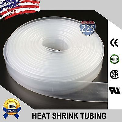 """10 FT 10/' Feet CLEAR 1/"""" 25mm Polyolefin 2:1 Heat Shrink Tubing Tube Cable US UL"""