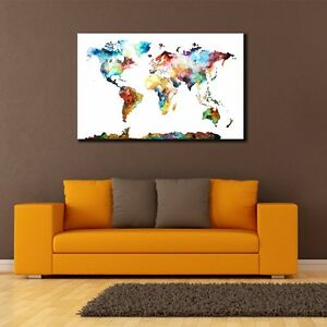60903cm watercolor world map canvas prints framed wall art home image is loading 60 90 3cm watercolor world map canvas prints gumiabroncs Choice Image