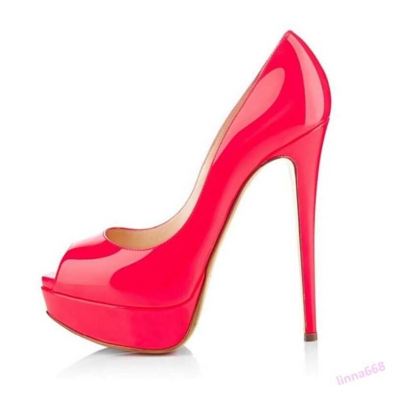 Zapatos de fiesta de la la la mujer 5 Color Charol Plataforma Taco Alto Punta Abierta Bombas caliente  ¡No dudes! ¡Compra ahora!