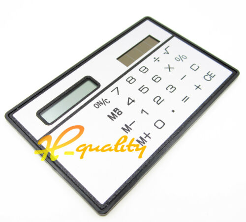 2PCS 8 Digits Ultra Thin Mini Slim Credit Card Solar Power Calculator White
