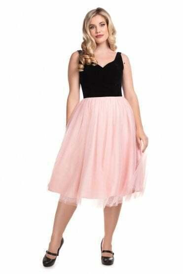 Collectif X Modcloth Isla Swing Dress Black/Nude UK30