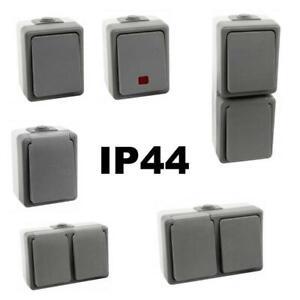 Feuchtraum-Steckdose-Schalter-Aufputz-Schuko-IP44-FR-Wechselschalter-aussen