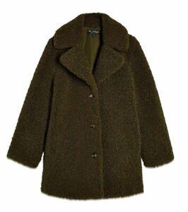 Missselfridge Womens Coat Olive Green Size 10-12 Longline Teddy $106 764