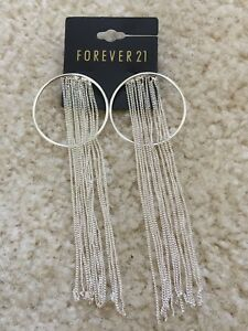 Image Is Loading New Forever 21 Chain Long Drop Tel Hoop
