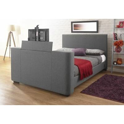 """NEWARK ELECTRIC TV BED FITS UP TO 32"""" PUSH BUTTON SYSTEM 4FT6 5FT HOPSACK FABRIC"""