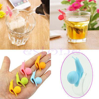 Cute Snail Shape Silicone Tea Bag Holder Cup Mug Candy Colors Gift Set New 5pcs