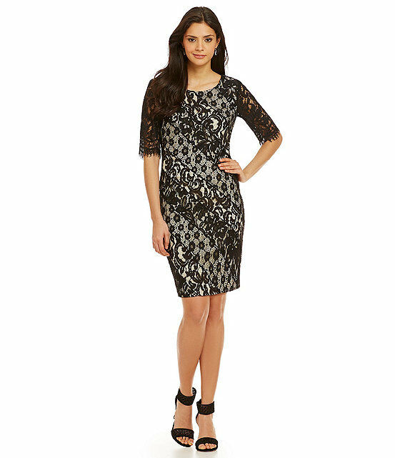 Katherine Kelly Liz Paneled Lace Sheath Dress, schwarz, Größe-10