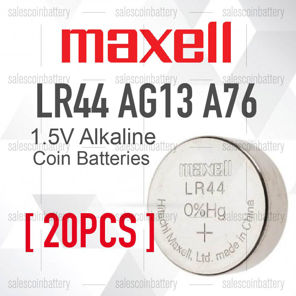 20X Genuine Maxell LR44 Battery A76/AG13 Button Cell Batteries stock in Mel