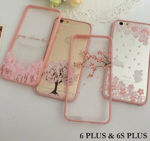 Details About For Iphone 6 6s Plus Pink Cherry Blossom Hard Rubber Clear Case Cover