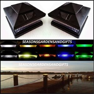 Solar Post Cap Deck Fence Color Led Lights 5x5 Or 6x6