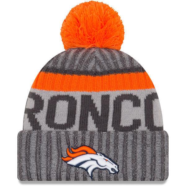 180630eaeae Era NFL Sideline 2017 Bobble Beanie - Denver Broncos
