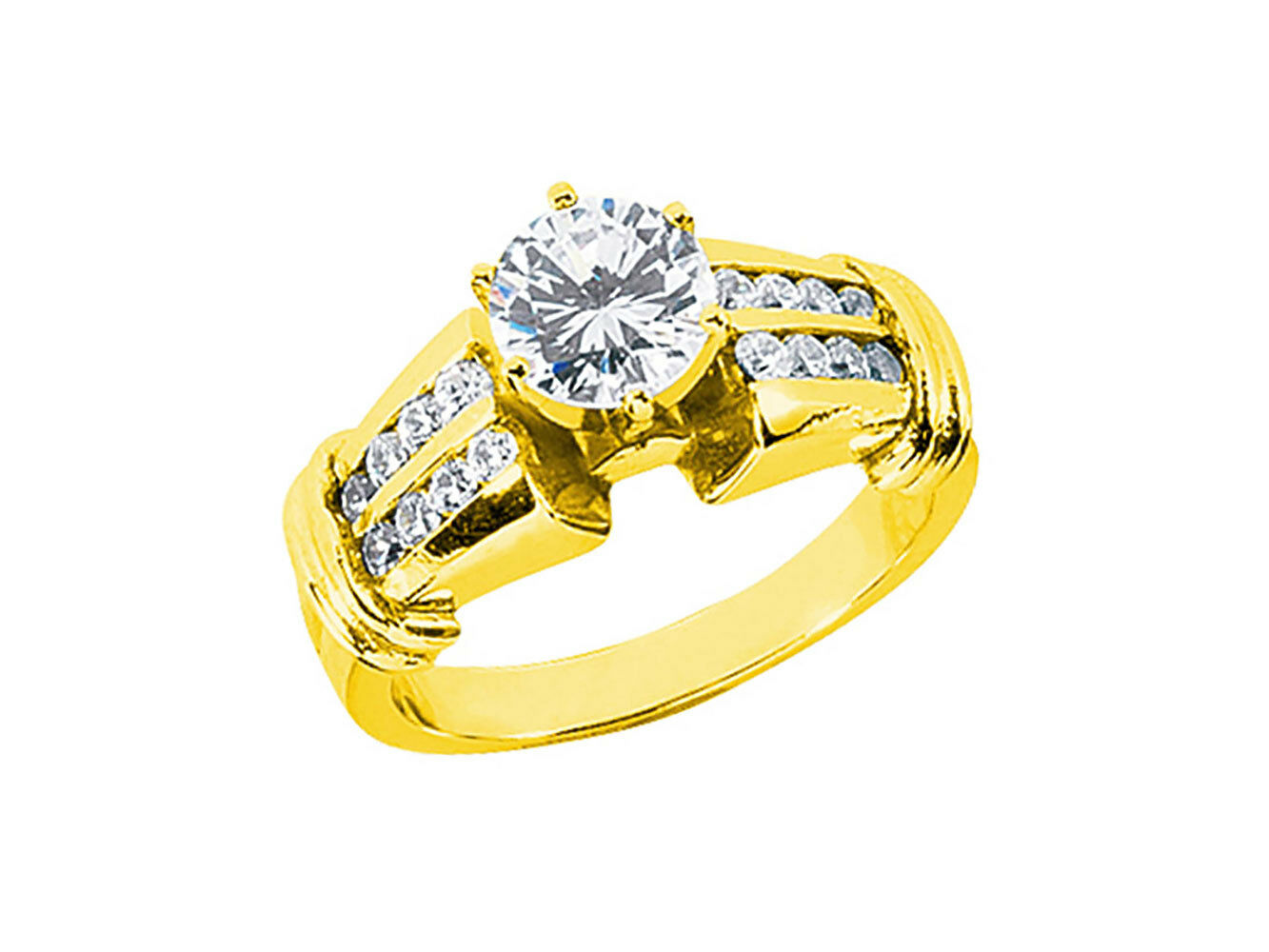 Natural 1.00ct Round Cut Diamond 2Row Engagement Ring Solid 18k gold IJ SI2