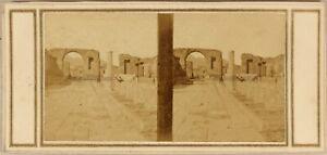 Italia Pompei Destro Forum c1860 Foto Mulino Stereo Vintage Albumina