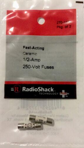 RADIOSHACK Fast-Acting Ceramic 1//2-Amp 250-Volt Fuses #270-1070 NEW 2pack