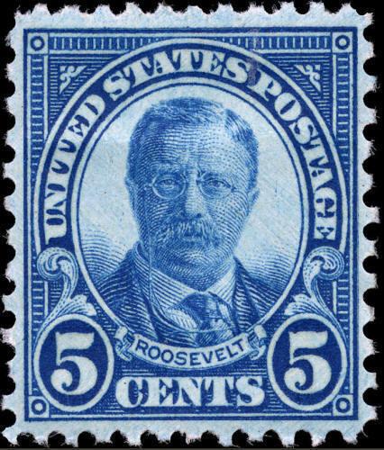 1927 5c Theodore Roosevelt, Dark Blue Scott 637 Mint F/
