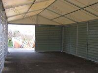 Trapezblechhalle Lagerzelt 6x12m / 1x Schiebetor / Giebellüftungen/ grau-weiß