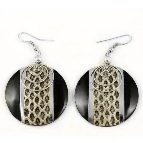 Edle Design Ohrringe Handarbeit Snake Skin Schlangen Leder FARBAUSWAHL ER231-4