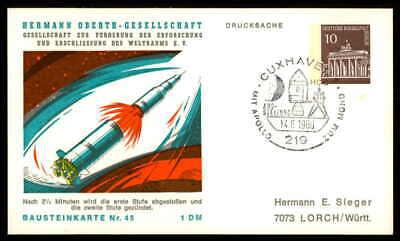 Berlin Privat-ga 1969 Weltraum Space Bausteinlarte 45 Hog Hermann Oberth Ep46