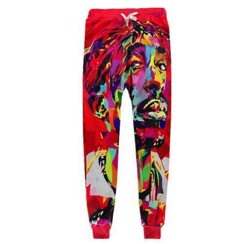 Red Men Women 3D 2PAC head Print Sweatshirt Jogger pants Hip Hop Sport Suit NEW