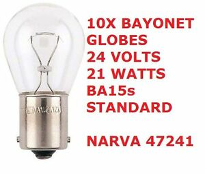 Image is loading 10x-Bayonet-Globes-24-Volts-21-Watts-Standard-