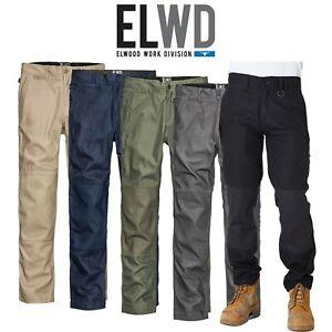 Mens-Elwood-Work-Basic-Pants-Stretch-Canvas-Tough-Tradie-Phone-Pocket-EWD102