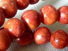Apfelkoralle Perle rund Kugel 8 - 9 mm rot 10 Stück 2204