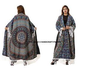 Womens-Loose-Kimono-Cardigan-Boho-Beach-Cotton-Mandala-Tops-Long-Coat-Blouse