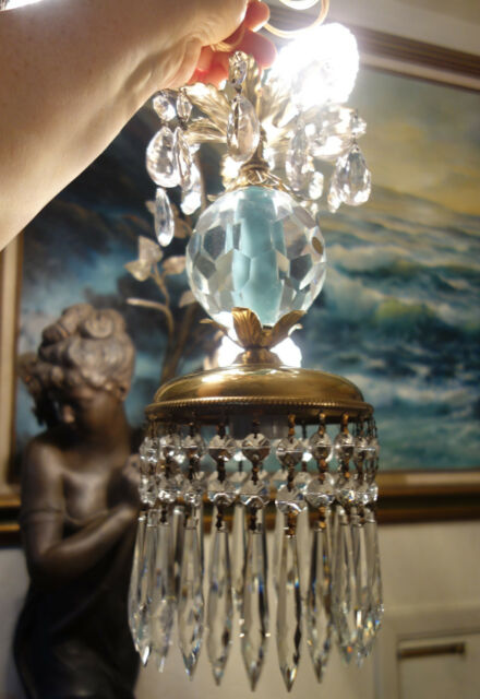 1of5 Vintage Swag crystal globe Icy Blue Brass hanging lamp chandelier prisms