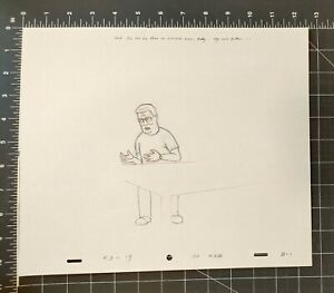 KING OF THE HILL CARTOON ANIMATION ART PENCIL CEL DRAWING HANK SITTING AT TABLE