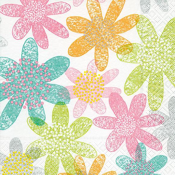 Servietten - Blumen pastell - Les fleurs pastels  - 20 Stück