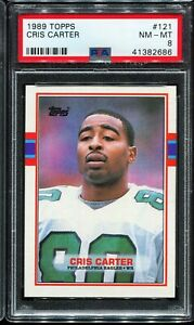 1989-Topps-Football-121-CHRIS-CARTER-Philadelphia-Eagles-RC-Rookie-PSA-8-NM-MT