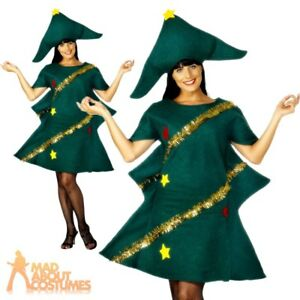 ceb3c3e9abf7 Details about Adult Christmas Tree Costume Ladies Novelty Xmas Tree Fancy  Dress Outfit
