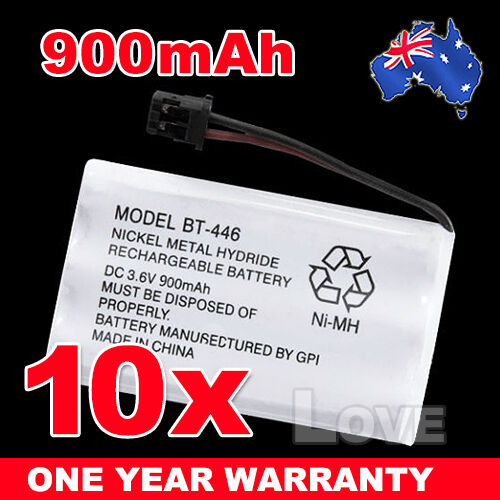 10x BT-446 BT-909 BT-750 3.6V 900mAh Cordless Phone Battery Ni-MH for Uniden