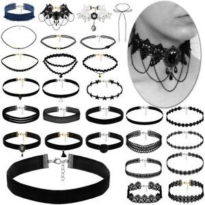 Damen-Halsband-Choker-Samt-Kropfband-Halskette-Kette-Spitze-Vintage-Gothic-Punk