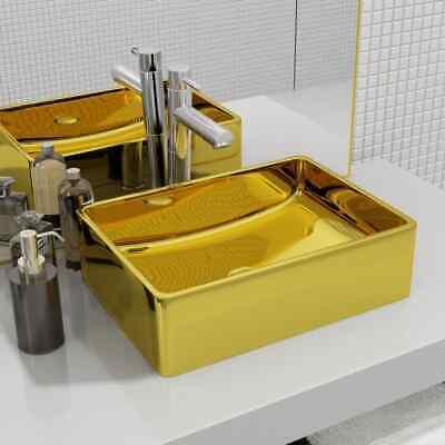 vidaXL Wash Basin Above Counter Home Bathroom Cloakroom Powder Room Sink Wash Bowl Unit Ceramic Gold