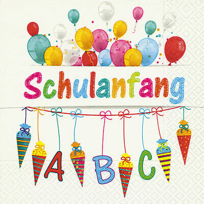 """20 Servietten Schulanfang /""""Schön dass du da bist/"""" beige rosa Einschulung 33x33cm"""