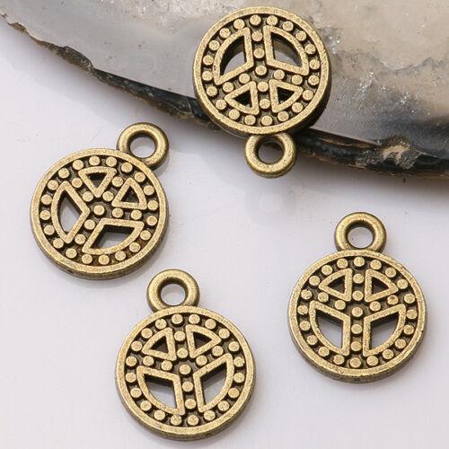 16pcs antiqued bronze color2sided dots peace symbol design charms EF3509