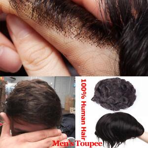 Topper-Toupee-Indian-Virgin-Human-Hair-Wigs-Lace-Base-Skin-Thin-Realistic-Men-US